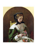 Girl Making a Bouquet of Flowers, 1849 Giclee Print by Augustus Leopold Egg