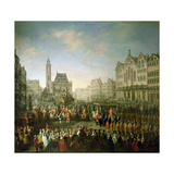 The Coronation Procession of Joseph II (1741-90), in Romerberg, 1764 Giclee Print by Martin II Mytens or Meytens