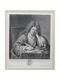 Portrait of Michel Richard Delalande (1657-1726), Superintendant of Music, Engraved by Simon… Giclee Print by Jean Baptiste Santerre