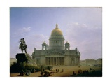 St. Isaac's Cathedral with a Statue of Peter the Great, 1844 Giclee Print by Maksim Nikiforovich Vorobiev