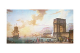 Morning, a Capriccio of a Mediterranean Port Giclee Print by Charles Francois Lacroix de Marseille