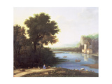 Italianate Landscape with a Goatherd Piping to His Goats Giclee Print by Claude Lorrain