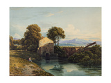 Watermill with Distant Castle and Hills, 1822 Giclée-Druck von John Varley