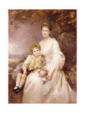 Portrait of Laura Gwendolen Gascoigne and Her Son Alvary, 1898 Giclee Print by Edward Hughes