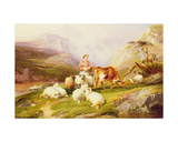Cow and Sheep on a Mountain Pasture Giclee Print by Thomas George Cooper