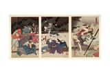 P.216-1955 the Death of Yamanaka Dankuro, Triptych Giclee Print by Kuniyoshi Utagawa