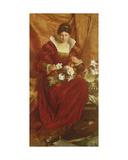 A Lady Arranging Flowers Giclée-Druck von Sir Hubert von Herkomer