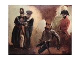 Studies of a Coldstream Guards Officer and Military Portraits, 1815 Giclee Print by George Jones