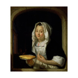 Portrait of a Maid Holding a Waffle Giclee Print by Godfried Schalcken