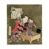 P.443-1937 a Man Performing with a Female Puppet on a Go Board Giclee Print by Katsushika Hokusai