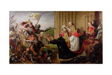Sanctuary (Edward IV and Lancastrian Fugitives at Tewkesbury Abbey) 1867 Giclee Print by Richard Burchett