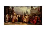 Palm Sunday at Moscow with Tsar Alexei Mikhailovich (1629-76) in a Patriarchal Procession, 1865 Giclee Print by Vyacheslav Grigorievich Shvarts