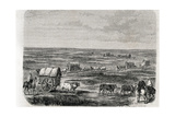 Wagon Train on the Argentinian Pampas in the 1860s, Engraved by Alfred Louis Sargent (B.1828) Giclee Print by Jules Antoine Duvaux
