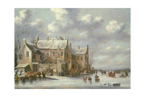 Winter Scene with View at Medemblik Giclee Print by Thomas Heeremans