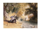 Pike Fishing, Landing a Jack, C.1839 Giclee Print by Newton Fielding