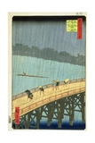 'Sudden Shower at Ohashi Bridge at Ataka', ('Ohashi, Atake No Yudachi') from the Series '100… Giclee Print by Ando Hiroshige