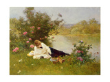 Woman on a River Bank Giclee Print by Ferdinand Heilbuth