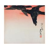 Crows in Flight in a Red Sky Reproduction procédé giclée par Shibata Zeshin