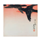 Crows in Flight in a Red Sky Giclee Print by Shibata Zeshin