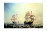 Combat Between the Frigate 'L'Embuscade' and the 'Boston' in the Port of New York in 1793 Giclee Print by Jean Antoine Theodore Gudin