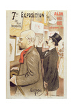 Poster Advertising the '7th Exhibition of the Salon Des 100', Depicting Paul Verlaine (1844-96)… Giclee Print by F.A. Cazals