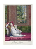 Turkish Woman, Resting on the Sofa after a Bath, 18th Century Giclee Print by Gerard Jean Baptiste Scotin
