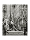 St. Joan of Arc (1412-31) at the Coronation of Charles VII (Reg.1422-61) in 1429 Giclee Print