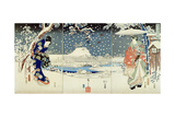 Snow Scene in the Garden of a Daimyo Giclee Print by  Utagawa Hiroshige and Kunisada