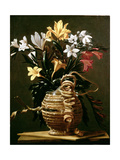 Still Life of Flowers in a Straw-Covered Flask Giclee Print by Guido Cagnacci