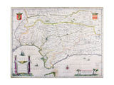 Map of Andalusia, Spain Giclee Print