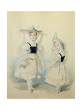 Portrait of the Grand Princesses Olga and Alexandra in Fancy Dress, 1830s Giclee Print by Pyotr Fyodorovich Sokolov