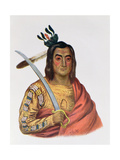 Mou-Ka-Ush-Ka or 'The Trembling Earth', a Yankton Sioux Chief, Illustration from 'The Indian… Giclee Print by George Cooke