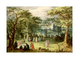 Landscape with 'Fete Galante' Giclee Print by Denys van Alsloot