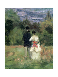 Louveciennes, Detail of Lovers Giclee Print by Camille Pissarro