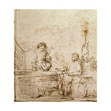 Christ and the Woman of Samaria Giclee Print by  Rembrandt van Rijn