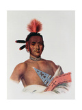 Moa-Na-Hon-Ga or 'Great Walker', an Iowa Chief, 1824, Illustration from 'The Indian Tribes of… Giclee Print by Charles Bird King