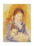 Young Girl with a Dog, C.1875 Giclee Print by Pierre-Auguste Renoir