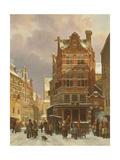 Belgium Street Scene, 19th Century Giclee Print by Cornelius Springer