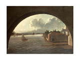 The Thames at Westminster Seen Through the Arch of a Bridge Giclee Print by Daniel Turner