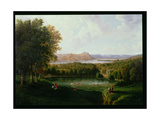View from the Tarrytown of the Hudson River Old Dutch Church and Beckham Manor, 1866 Giclee Print by Robert The Younger Havell