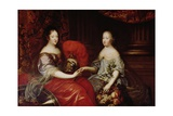 Portrait of Anne of Austria (1601-66) and Her Niece and Step-Daughter Marie-Therese of Austria… Giclee Print by Simon Renard De Saint-andre