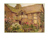 A Cottage Garden in Cholstry Giclee Print by Ernest Arthur Rowe