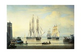 The 'William Lee' at the Mouth of the Humber Dock, Hull, or the Return of the 'William Lee', 1839 Giclee Print by John Ward