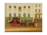 The London-Manchester Stage Coach ('The Peveril of the Peak') Outside the Peacock Inn, Islington Giclee Print by James Pollard