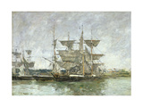 Boats in the Port, Deauville, 1881 Giclee Print by Eugene Louis Boudin