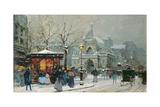 Snow Scene in Paris Giclee Print by Eugene Galien-Laloue