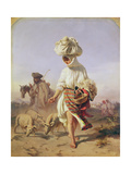 Peasant Girl Feeding Pigs, 1855 Giclee Print by Karoly Sterio