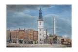 View of St. Michael Church, Crooked Lane, London, Designed by Christopher Wren, During… Giclee Print by George The Elder Scharf