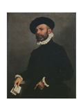 Portrait of a Man Holding a Letter, C.1570-75 Giclee Print by Giovanni Battista Moroni