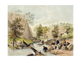 Gold Washing, Summer Hill Creek, Below Lewis' Ponds, Plate 2 of 'Views of the Gold Regions of… Giclee Print by George French Angas